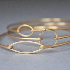 Gold Minimalist Bangle Bracelet Set,  Gold Bangle, Gold Bracelet, Jewelry, Gold Jewelry, Minimalist, Gifts for Her, Bridesmaids Gifts by BaubleVine on Etsy https://www.etsy.com/listing/234633707/gold-minimalist-bangle-bracelet-set-gold