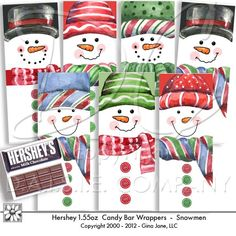 From my friend Gina Jane - she produces some of the finest digital art kits available. Hershey Regular Size Bars - Snowman Candy Bar Wrappers by Gina Jane Designs - DAISIE Company Christmas Wrapper, Christmas Candy Bar, Holiday Candy, Kids Christmas, Christmas Crafts, Snowman Crafts, Christmas Images, Christmas Snowman, Christmas Stuff