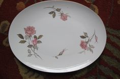 Large Floral Oval Serving Platter Vintage Sango Pink Rose Fine China Nancy #Sango