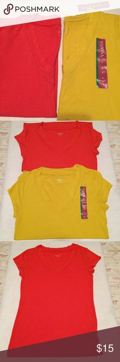 """Merona Ultimate V Tees Bundle Two tees, orange and curry/yellow. Both size M. Orange was worn once and washed. Yellow is new with tags. Both in near perfect conditions. 95% Rayon and 5% Spandex. 25"""" shoulder to hem. 16"""" pit to pit. V neck line. Short sleeves. Soft, light and comfortably moves with your body. Great spring and summer colors! Merona Tops Tees - Short Sleeve"""