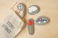 DIY Story Stones.....pull them out one at a time, and let kids create imaginative stories
