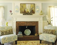 House of Turquoise: Julia's Posh Living Room, pretty fireplace Red Brick Fireplaces, Dark Living Rooms, Fireplace Design, Family Room, Beach Living Room, Living Room With Fireplace, Home Decor, Fireplace Surrounds, Fireplace