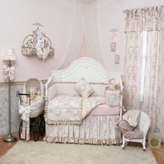 French Toile Baby Girl Bedding | French Angel Toile Crib Bedding Collection | Carousel Designs