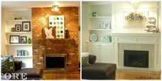 """When we bought our home the Den did not """"fit"""" with the traditional style of the home. The floor to ceiling brick fireplace was a visual disruption to the tradi… Fireplace Update, Paint Fireplace, Brick Fireplace Makeover, Fireplace Surrounds, Fireplace Design, Fireplace Mantels, Fireplaces, Fireplace Ideas, Mantle Ideas"""