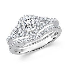 Brilliant Round Cut Diamond Halo Bridal Set at #MyBridalRing Wedding Ring Store in Los Angeles - http://www.mybridalring.com/Wedding-Rings/unique-round-diamond-bridal-wedding-set/