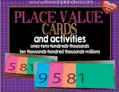 These cards will help your students learn place value and what value each number represents. For example, students have a hard time learning that in the number 34, 30 + 4 is the same thing. These cards lay on top of each other so the value of each digit is represented when you look at each card. The value is also at the top left corner of the card. There are cards for tens, hundreds, thousands, ten thousands, hundred thousands, and millions included. The students are practicing place value…