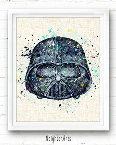 Darth Vader Poster, Star Wars Poster, Baby Wall Decor, Nursery Room Decor, Watercolor Disney, Watercolor Paintings, Figurine Disney, Starwars, Arte Disney
