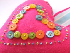 Hearts for Mirabel - closeup by sunnydayshere, via Flickr #buttons #buttonart #crafts