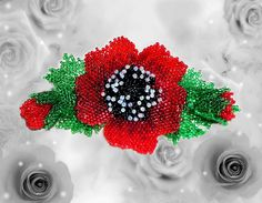 Pretty beaded artisan hair barrette with poppy by Gemsplusleather