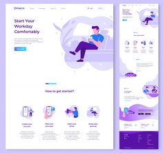 One page website vector design template Website Design Inspiration, Website Design Layout, Web Layout, Layout Design, Web Flat Design, Design Plat, Design Design, Character Web, Conception D'interface