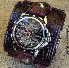 Steampunk Leather Cuff Watch Men's watch by CuckooNestArtStudio, $149.00