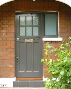 Smart front door and frame with opaque panel and single side light, with polished chrome door furniture. A hand-painted finish completes the look. Front Doors With Windows, Back Doors, Entry Doors, Entryway, Front Door Colors, Front Door Decor, Single French Door, Door Signage, Front Door Lighting