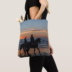 Horse Riding Couple On Beach At Sunset Tote Bag - wedding bag marriage design idea custom unique Horse Gifts, Gifts For Horse Lovers, Diy Tote Bag, Reusable Tote Bags, Country Wedding Gifts, Wedding Bag, Equestrian Style, Printed Bags, Custom Bags