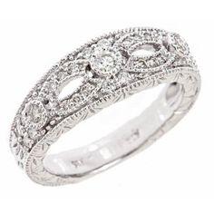 14k White Gold Diamond Wedding Anniversary Band Ring Vintage Style