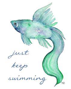 Beta Fish/Teal Blue Purple/ Watercolor Print by kellybermudez Watercolor Fish, Watercolor Animals, Watercolor Paintings, Watercolors, Tattoo Watercolor, Fish Paintings, Beta Fish, Wow Art, Fish Art