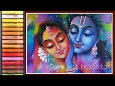 Oil Pastel Drawings Easy, Oil Pastel Paintings, Indian Art Paintings, Colorful Drawings, Holi Painting, Krishna Painting, Krishna Art, Oil Pastel Colours, Soft Pastel Art