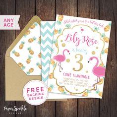 Flamingo invitation, Flamingo party, pool party, pool party invitation, First birthday invitation,pink gold invitation, pineapple invitation by PaperSparkleDesigns on Etsy https://www.etsy.com/listing/281674434/flamingo-invitation-flamingo-party-pool
