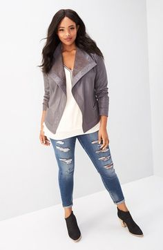 Main Image - Sejour Jacket, Bobeau Tank & SLINK Jeans Skinny Jeans Outfit with Accessories (Plus Size)