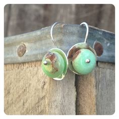 Simple Hammered Silver Chrysoprase Earrings by jenjems on Etsy, $28.00