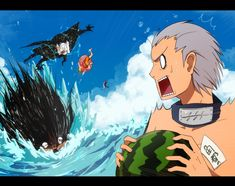 Just to continue with the beach pics.  Yet again, Pein gets the short end of the stick. Konan is probably watching from afar, ever wise.  Akatsuki, NARUTO, Pixiv, Hidan, Kakuzu, Pein, Fanart From Pixiv, Mackerel (Artist)