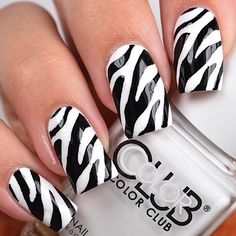 A recreation of my zebra nails that I originally did 10 weeks ago 😄 Products used: Zebra nail vinyls from Snail Vinyls White polish: 'French Tip' by Black polish: 'licorice' by essie Tutorial up later ✨ Zebra Nail Designs, Zebra Nail Art, Zebra Print Nails, Animal Nail Art, Short Nail Designs, Cute Nail Designs, Nails Design, White Short Nails, Black White Nails