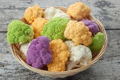 did you know cauliflower naturally comes in a variety of bright colors? how creative could you get??
