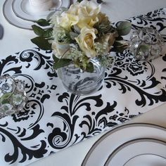 Traditions White and Black Damask Table Runner Wedding Table Runner Black on White on Etsy, $12.00