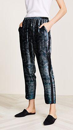 Ikat Print Velvet Pants