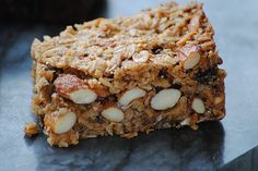 baked chewy granola bars - oats, oat flour, dried fruits and nuts, almond butter, butter, syrup