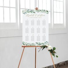 Greenery Wedding Seating Chart, Printable Seating Chart Template, Wedding Seating Plan, Table Numbers | Edit in Word and Pages by PaperDainty on Etsy https://www.etsy.com/listing/521573449/greenery-wedding-seating-chart-printable