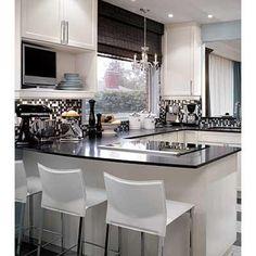 hellolover: Candice Olson on Divine Design  black and white kitchen, black granite countertops, ...