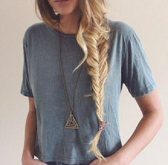 Basic top with really cute pyramid hipster necklace