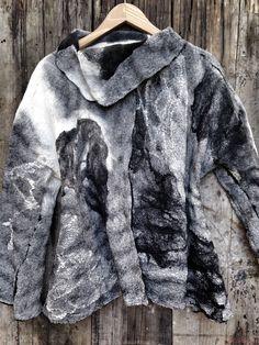 Nuno felt, silk+Merino www.fieltrounico.com.ar Textiles, Nuno Felting, Coco Chanel, I Am Awesome, Fur Coat, Jackets, Inspiration, Clothes, Dresses