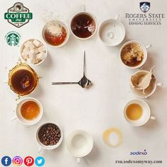 It's Coffee O'Clock! Stop by the Hilltop Coffee Shop & Juice Bar and let Cruz or Mikayla make you something special. Open til 3 pm. #RSUDiningServices #WeProudlyServeStarbucks #HilltopCoffeeShopAndJuiceBar☕️