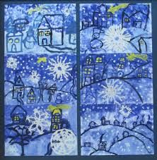 Blue of cold - Joséphine's notebooks Winter Art Projects, Winter Project, Easy Art Projects, Winter Crafts For Kids, School Art Projects, Drawing For Kids, Art For Kids, January Art, Winter Drawings