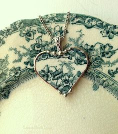 Broken china jewelry heart pendant necklace antique teal iris English transferware