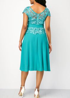 Cyan Tie Waist Cap Sleeve Dress | Rosewe.com - USD $33.60
