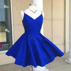 A-Line Spaghetti Straps Open Back Royal Blue Satin Short Homecoming Dress with Bowknot - Dressestime.com