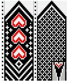 Helpot sydänkirjoneulelapaset Knitted Mittens Pattern, Knit Mittens, Knitted Gloves, Knitting Charts, Knitting Patterns, Wedding Cross Stitch Patterns, Graph Paper Art, Bead Crochet Rope, Fair Isle Knitting