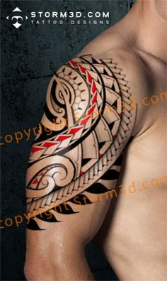 Red Polynesian Maori tattoo for the shoulder, forearm or calf