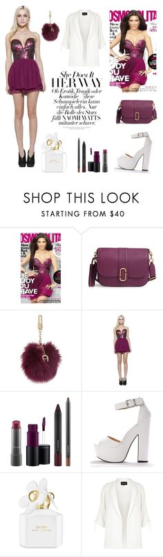 """plum prom queen"" by jhmess ❤ liked on Polyvore featuring Ani Lee, Marc Jacobs, Etienne Aigner, MAC Cosmetics and River Island"