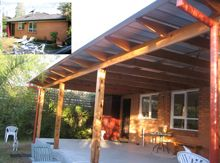 From colorbond to polycarbonate (laserlite) to a tiled flat roof verandah or an open flat roof pergola we have the roof design for your home. Flat Roof, Roof Design, Pergola, Outdoor Structures, Outdoor Decor, Home Decor, Projects, Ideas, Log Projects