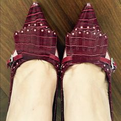 NWOB Nine West Heels Maroon and light pink Nine West Heels. Worn once! Excellent condition and so cute! So classic looking! You can dress up a pair of jeans and a white top with these heels or wear them with a dress for a more formal occasion. Nine West Shoes Heels