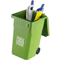 Promote being green for your company with this cool pen holder!