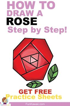 How to Draw a Rose simple way! Step by Step tutorial with FREE printable practice sheets and video tutorial :) Easy Drawings For Kids, Drawing For Kids, Drawing Tips, Drawing Ideas, Simple Drawings, Doodle For Beginners, Drawing Tutorials For Beginners, Rose Step By Step, Step By Step Drawing