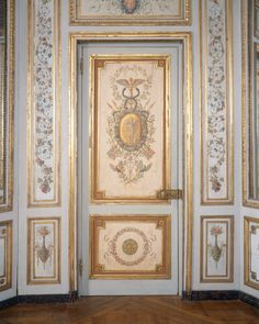 Delightful arabesques painted in pastel colors on a soft blue ground form the chief decoration of this paneling - Detail.