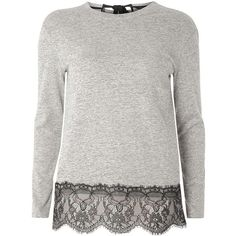 Dorothy Perkins Charcoal lace hem top (€32) ❤ liked on Polyvore featuring tops, grey, lacy tops, neck ties, grey lace top, lace top and gray lace top