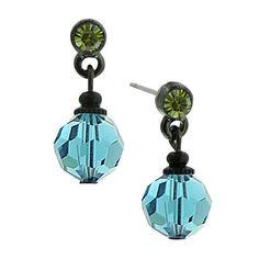 Beaded Ball Teal Drop Earrings -1928 Jewelry