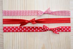Set of 3 Headbands Red Chevron Red and Red by ForeverandAlways2011, $4.50
