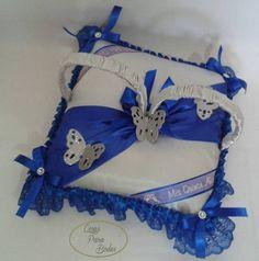 CO_146 Cojín para Zapatillas #15años Plateado Azul, Mariposas
